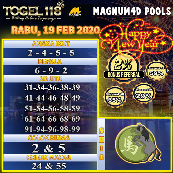 prediksi togel magnum4d 19 february 2020
