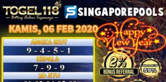 Prediksi Togel Singapore 6 februari 2020