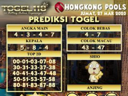 prediksi togel hongkong 27 maret 2020