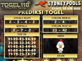 Prediksi Togel Sydney hari ini 02 April 2020