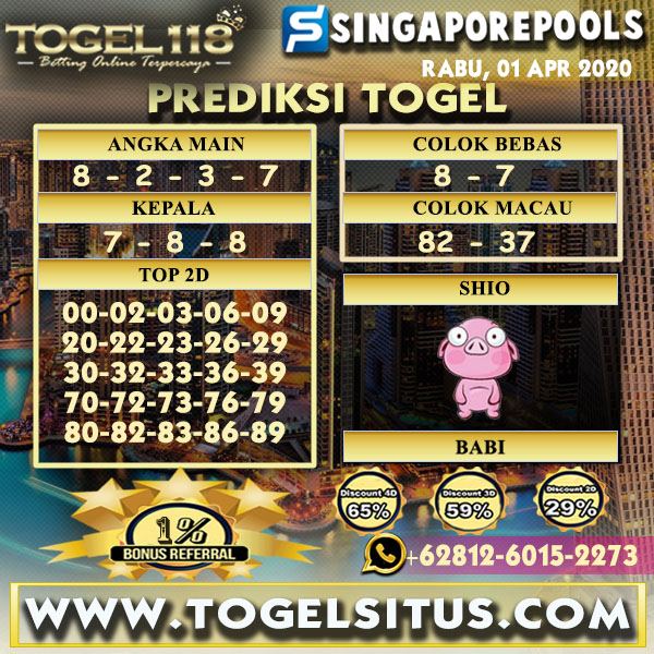 Prediksi togel singapore 01 April 2020
