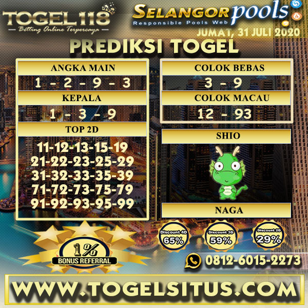 prediksi Togel Selangor 31 Juli 2020