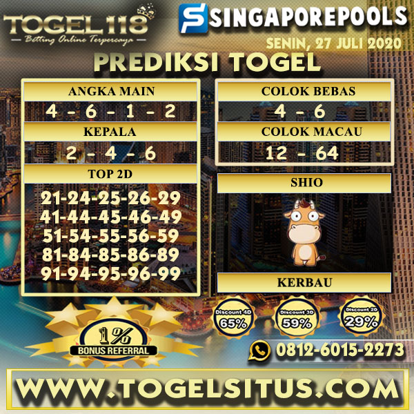prediksi Togel singapore 27 Juli 2020