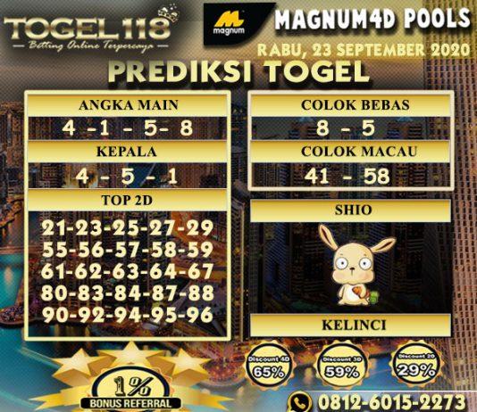Prediksi Togel Magnum4D 23 September 2020