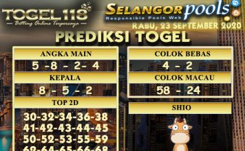 Prediksi Togel Selangor 23 September 2020