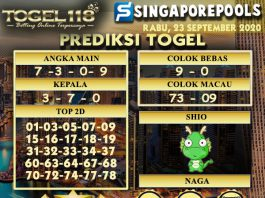 Prediksi Togel Singapore 23 September 2020