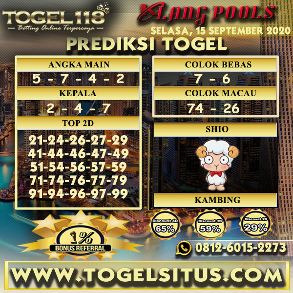 prediksi Togel Klang 15 September 2020