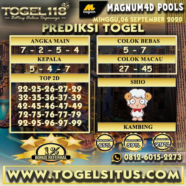 Prediksi Togel Magnum4D 06 September 2020