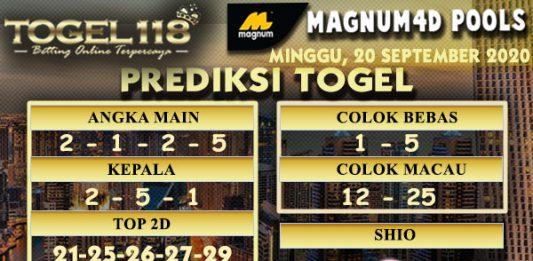 Prediksi Togel Magnum4D 20 September 2020