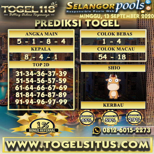 prediksi Togel Selangor 13 september 2020