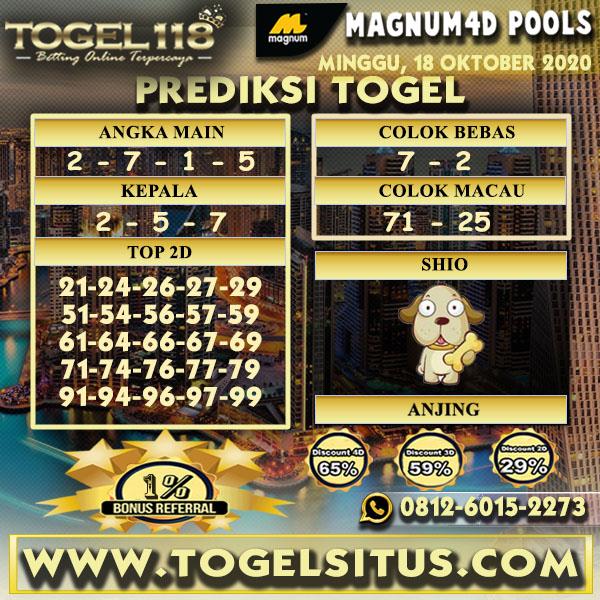 Prediksi Togel Magnum4D 18 Oktober 2020