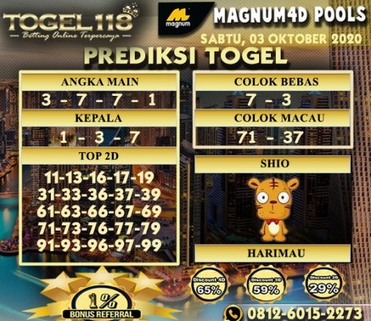Prediksi Togel Magnum4D 03 Oktober 2020