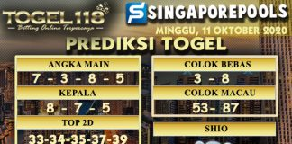 Prediksi Togel Singapore 11 Oktober 2020