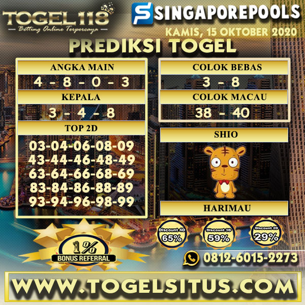 Prediksi Togel Singapore 15 Oktober 2020