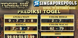 Prediksi Togel Singapore 19 Oktober 2020