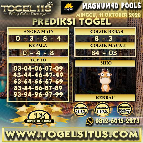 Prediksi Togel Magnum4D 11 Oktober 2020