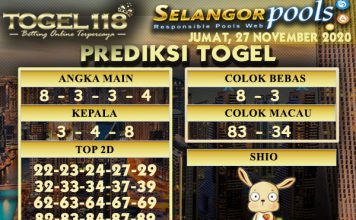 Prediksi Togel Selangor 27 November 2020