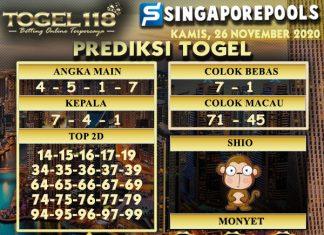 Prediksi Togel Singapore 26 November 2020
