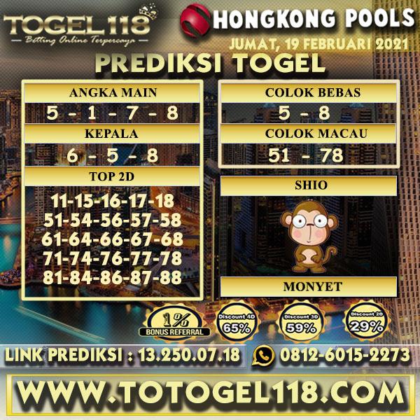 Prediksi Togel Hongkong 19 Februari 2021