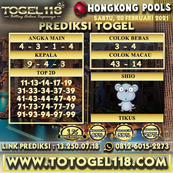 Prediksi Togel Hongkong 20 Februari 2021