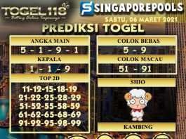 prediksi Togel Singapore 06 Maret 2021