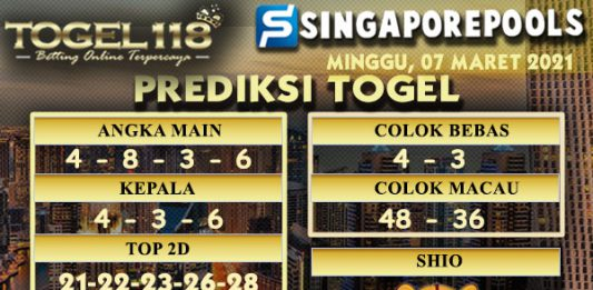 Prediksi Togel Singapore 07 Maret 2021